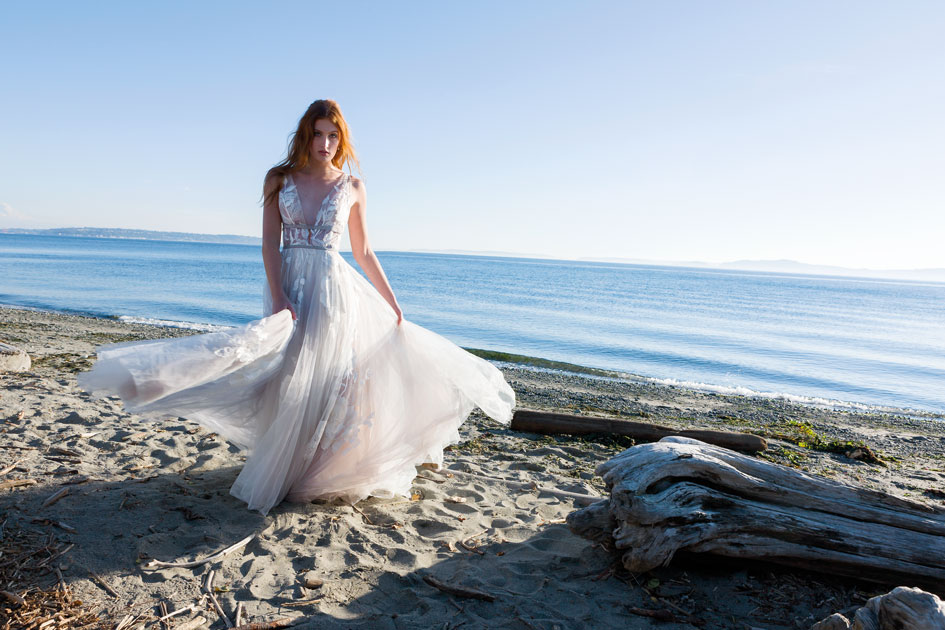 Willowby gown from Lovely Bride at Discovery Park on the coast of the Puget Sound in Seattle.