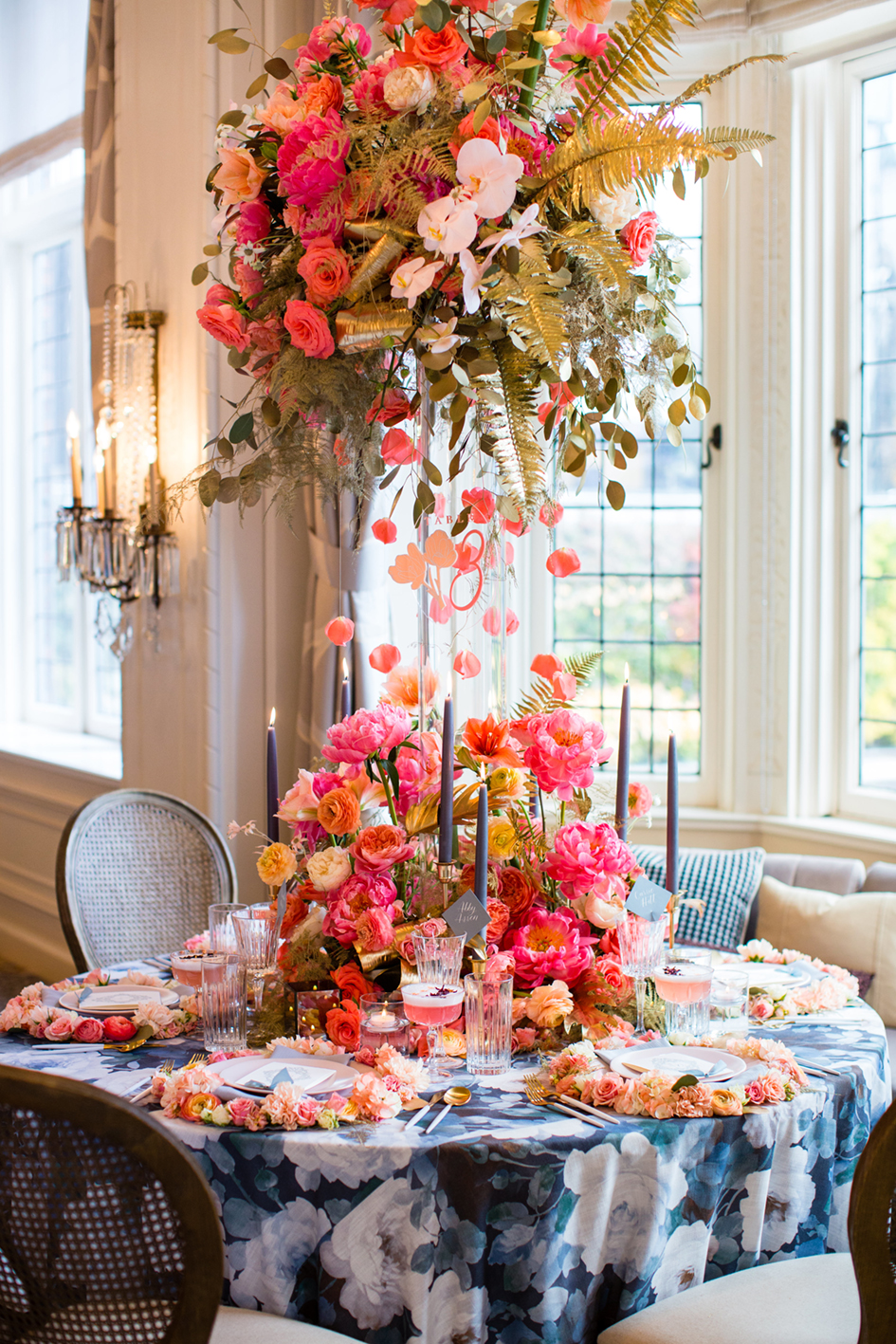 Bright spring tablescape with decadent pink florals.
