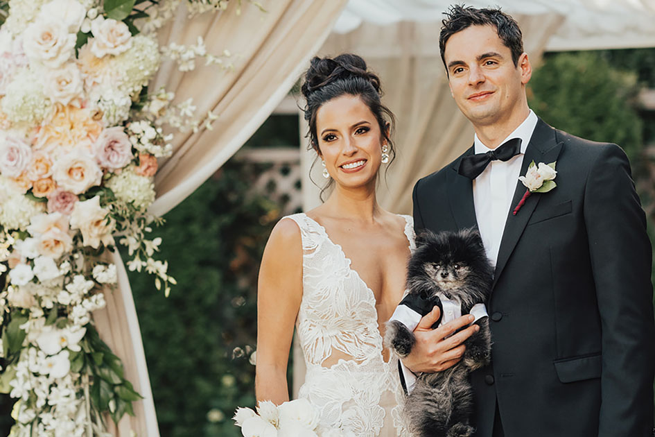 Sarah, Josh and their cat at their wedding at Admiral's House