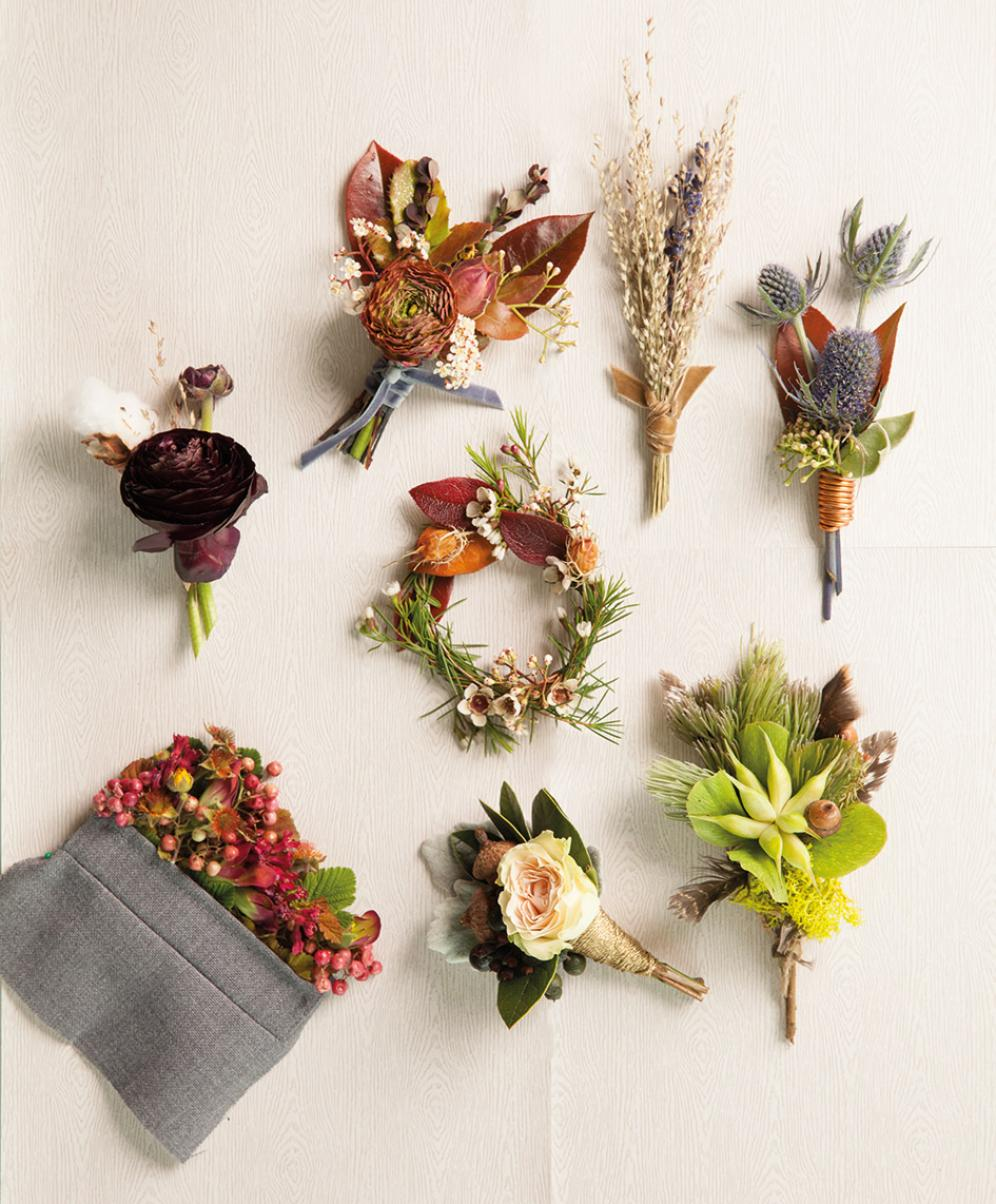 For The Groom Creative Boutonnieres Inspired By Autumn Hues